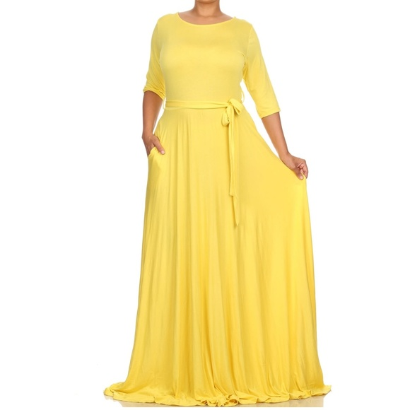 63551d0aaad2 Dresses | Plus Yellow Jersey Belted Fit Flare Maxi Dress | Poshmark